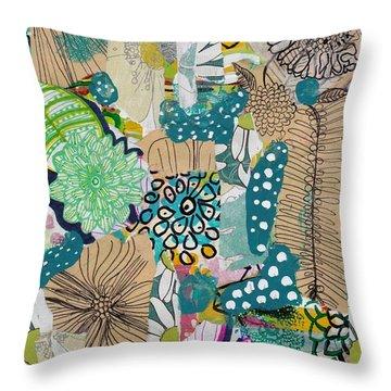 Flowes In An Ocean Forest Throw Pillow