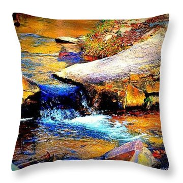 Throw Pillow featuring the photograph Flowing Creek by Tara Potts