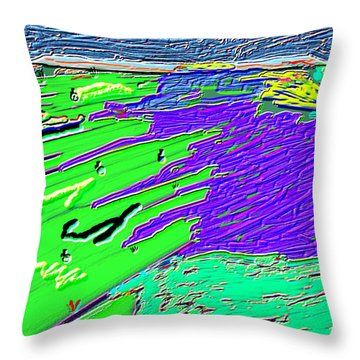 Flowing Edge World Digital Painting Throw Pillow by Colette Dumont