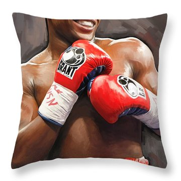 Throw Pillow featuring the painting Floyd Mayweather Artwork by Sheraz A