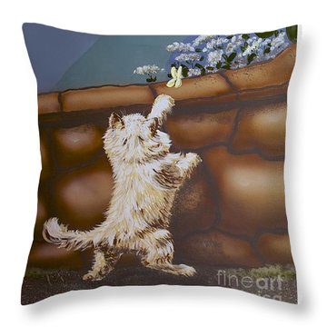 Fluff And Flutter Throw Pillow by Linda Simon