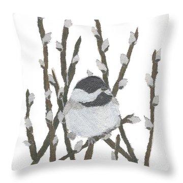 Chickadee Art Hand-torn Newspaper Collage Art By Keiko Suzuki Bless Hue Throw Pillow by Keiko Suzuki
