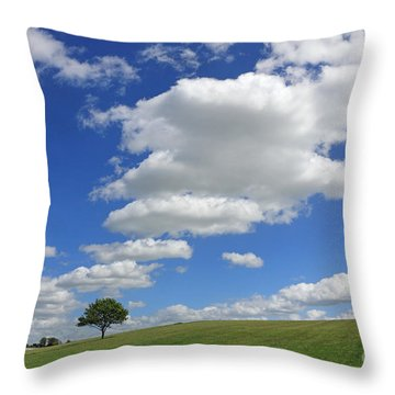 Fluffy Clouds Over Epsom Downs Surrey Throw Pillow