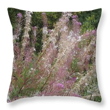 Fluffy Flowers Throw Pillow by John Williams
