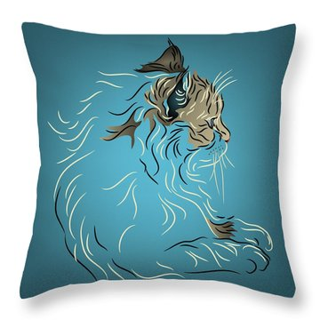 Throw Pillow featuring the digital art Fluffy Gray Cat In Profile by MM Anderson