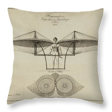 Flugmashine Patent 1807 Throw Pillow by Bill Cannon