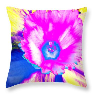 Fluorescent Daffodil  Throw Pillow