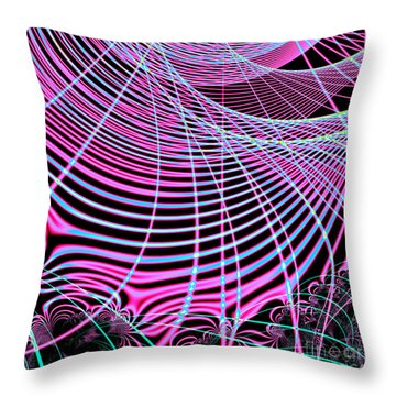 Fluorescent Neon Web Fractal 45 Throw Pillow by Rose Santuci-Sofranko