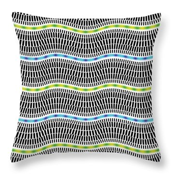 Fluorescent Waves Throw Pillow