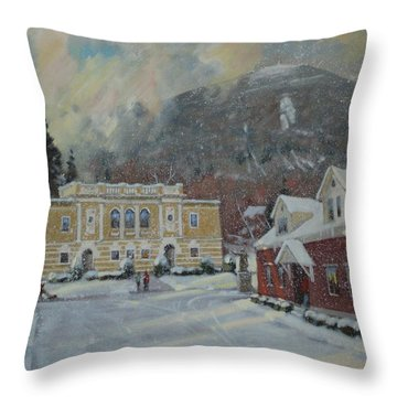 Flurries Over Mount Greylock Throw Pillow by Len Stomski