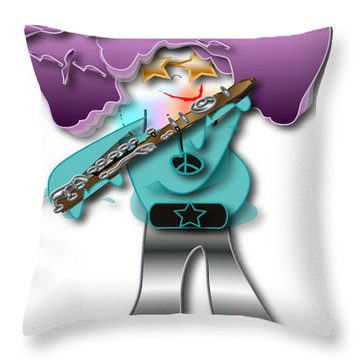 Flute Player Throw Pillow by Marvin Blaine