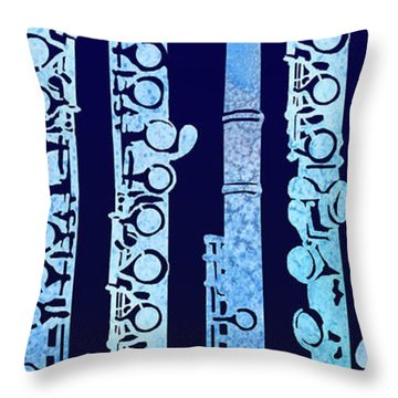 Flutes In Blue Throw Pillow