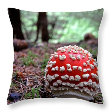 Fly Agaric Emerging Throw Pillow by John Topman