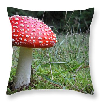 Fly Agaric In The Grass Throw Pillow by John Topman