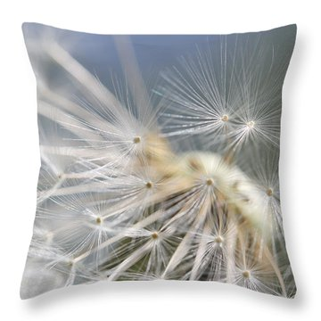 Fly Away Dandelion Seeds  Throw Pillow by Jennie Marie Schell