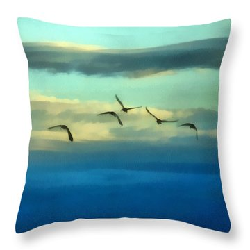Fly Away Throw Pillow by Ernie Echols