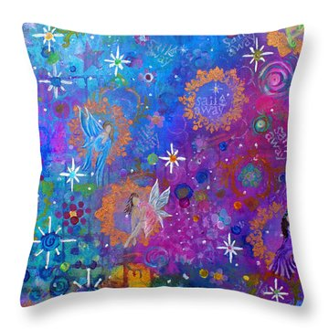 Fly Away To Fairy Day Throw Pillow by The Art With A Heart By Charlotte Phillips