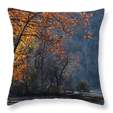 Fly Fisherwoman Throw Pillow by Denise Romano
