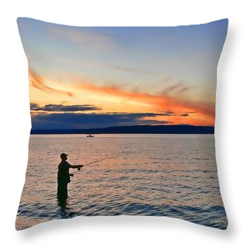 Fly Fishing  Fisherman On Puget Sound Washington Throw Pillow by Jennie Marie Schell