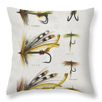 Fly Fishing Flies Throw Pillow