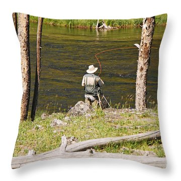 Fly Fishing Throw Pillow by Mary Carol Story