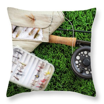 Fly Fishing Rod And Asessories Throw Pillow by Sandra Cunningham