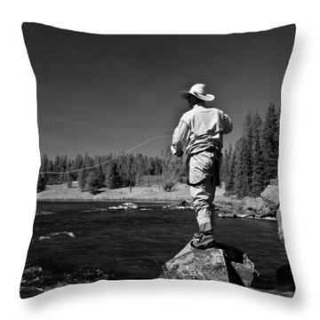 Throw Pillow featuring the photograph Fly Fishing The Box by Ron White