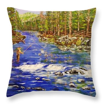 Fly Fishing The Sierras Throw Pillow