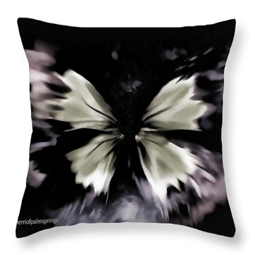 Throw Pillow featuring the painting  Butterfly Art  Fly Free Little Butterfly by Sherri  Of Palm Springs