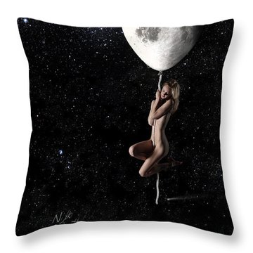 Fly Me To The Moon - Narrow Throw Pillow by Nikki Marie Smith