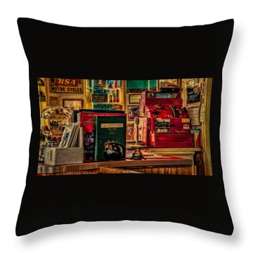 Flying A Service Station Office Throw Pillow