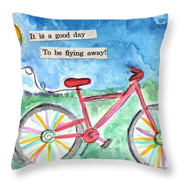 Flying Away- Bicycle And Balloon Painting Throw Pillow