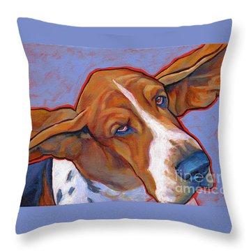 Flying Basset Hound Throw Pillow by Lynn Culp