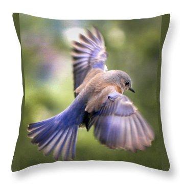 Flying Bluebird Throw Pillow