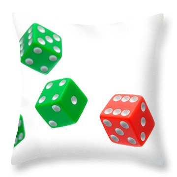 Flying Craps Dice  Throw Pillow by Olivier Le Queinec