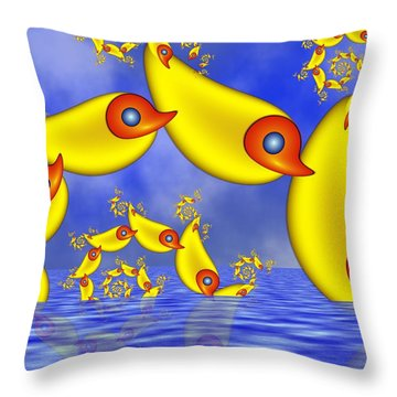 Throw Pillow featuring the digital art Jumping Fantasy Animals by Gabiw Art