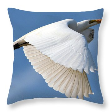 Flying Egret Throw Pillow by Dan Williams