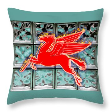 Flying Fire Horse Throw Pillow by Keith Dillon
