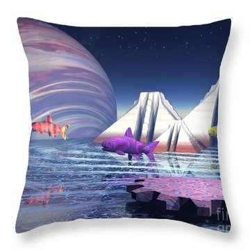 Throw Pillow featuring the digital art Flying Fish by Jacqueline Lloyd