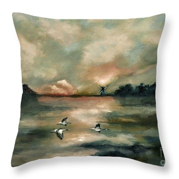 Throw Pillow featuring the painting Flying Geese by Maja Sokolowska