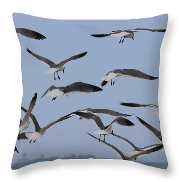 Throw Pillow featuring the photograph Flying Gulls  by Christy Pooschke