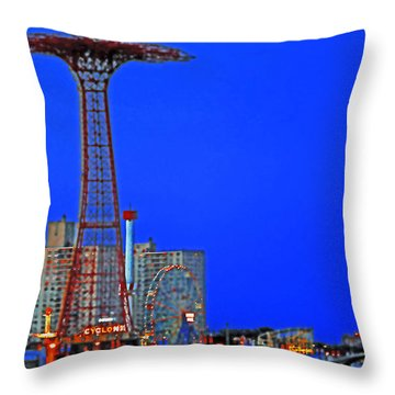 Flying High In Coney Island Throw Pillow