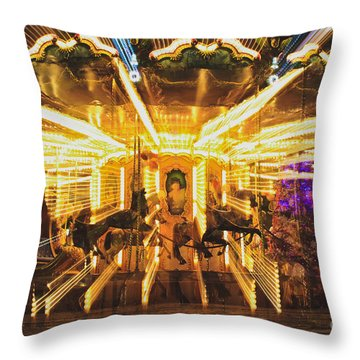 Flying Horses Carousel  Throw Pillow