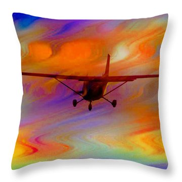 Flying Into A Rainbow Throw Pillow