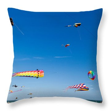 Flying Kites At St Augustine Beach Pier Throw Pillow by Michelle Wiarda