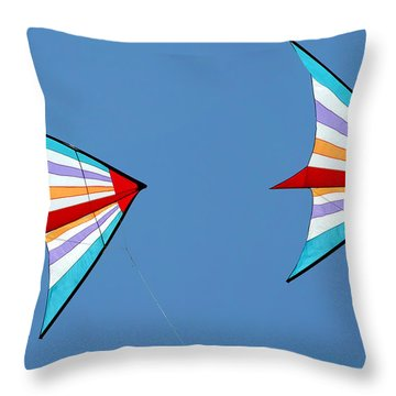 Flying Kites Into The Wind Throw Pillow