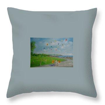 Flying Kites Newport Ri Throw Pillow