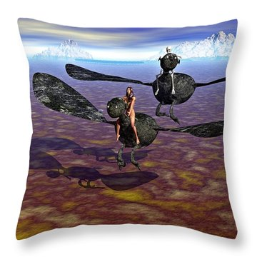 Flying Naked  Throw Pillow