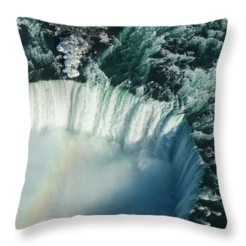Flying Over Icy Niagara Falls Throw Pillow