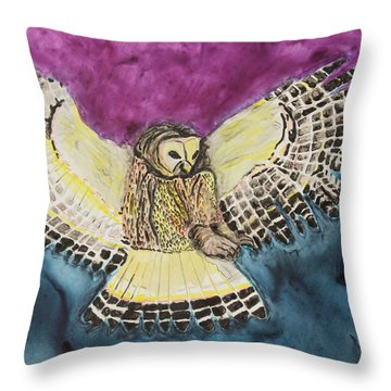 Throw Pillow featuring the painting Flying Owl by Jeanne Fischer